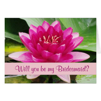 Lovely Water Lily Bridesmaid Notecard Card
