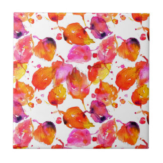 Lovely watercolor autumn leaves  pattern ceramic tile
