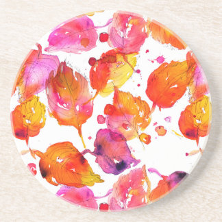 Lovely watercolor autumn leaves  pattern coaster