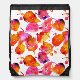 Lovely watercolor autumn leaves  pattern drawstring bag