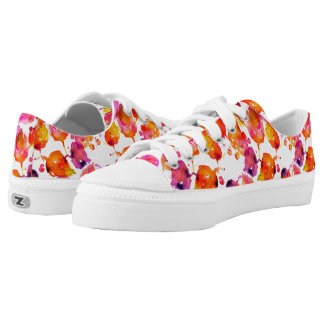 Lovely watercolor autumn leaves  pattern low tops