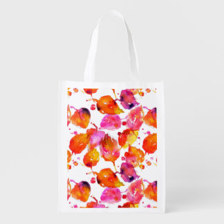 Lovely watercolor autumn leaves  pattern reusable grocery bag