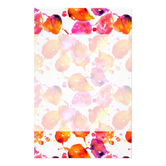 Lovely watercolor autumn leaves  pattern stationery