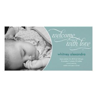Lovely Welcome Baby Birth Announcement - Blue Personalised Photo Card
