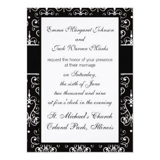 lovely white black heart chandelier chic damask 14 cm x 19 cm invitation card