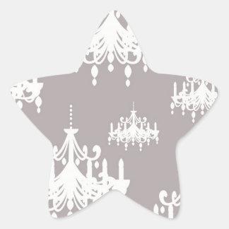 lovely white chandelier damask on grey silver star sticker