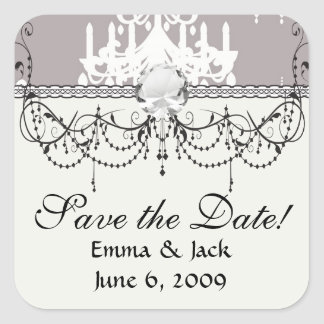 lovely white chandelier damask on grey silver square stickers