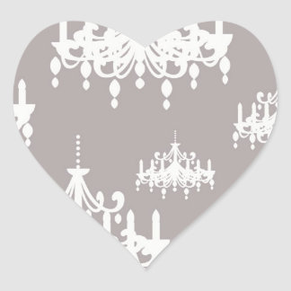 lovely white chandelier damask on grey silver heart stickers
