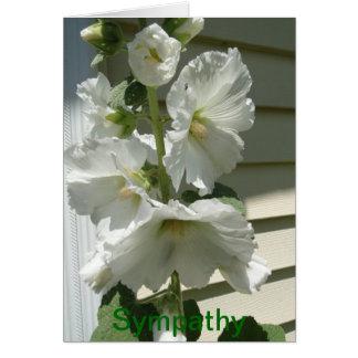 Lovely White Hollyhocks, Sympathy Card
