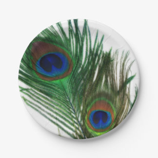 Lovely White Peacock Feathers 7 Inch Paper Plate