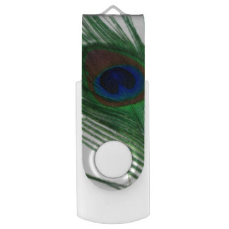 Lovely White Peacock USB Flash Drive