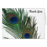 Lovely White Peacock Wedding Thank You Note Card