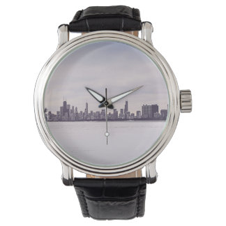 lovely winter Chicago -men's vintage leather watch