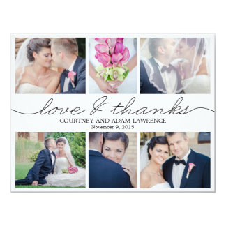 Lovely Writing Wedding Photo Thank You Card White 11 Cm X 14 Cm Invitation Card