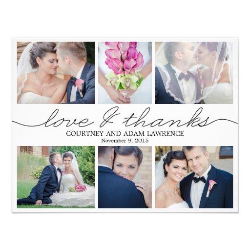 Lovely Writing Wedding Photo Thank You Card White Custom Invitation