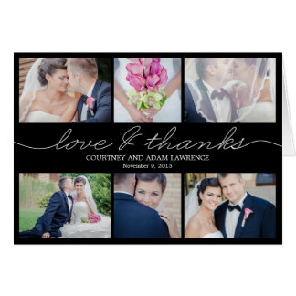 Lovely Writing Wedding Thank You Card - Black