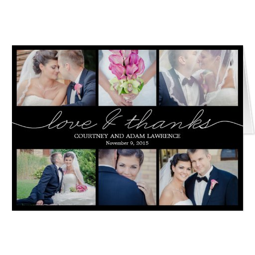 Lovely Writing Wedding Thank You Card - Black Greeting Card