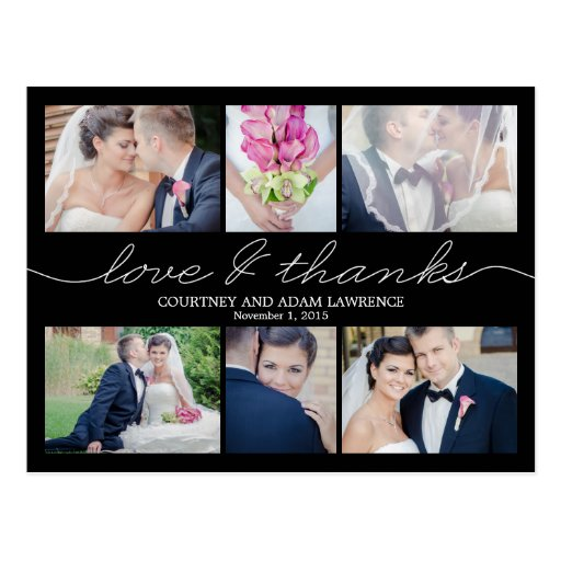Lovely Writing Wedding Thank You Card - Black Postcards