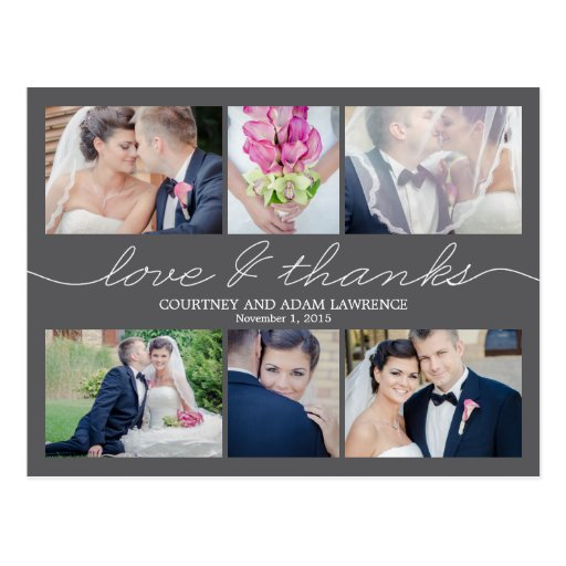Lovely Writing Wedding Thank You Card - Gray Postcard