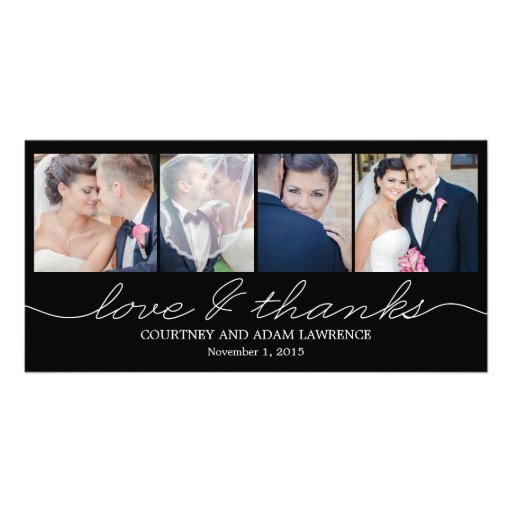 Lovely Writing Wedding Thank You Cards - Black Photo Card