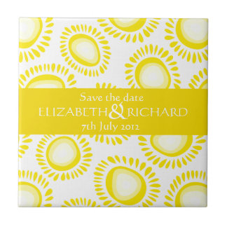 Lovely yellow funky flowers Save the date Tile