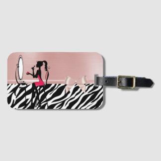 Lovely Zebra Print,Ribbon Bow,Women Silhouette Luggage Tag