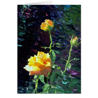 LovelyYellow rose and buds, incandescent water gla Greeting Cards