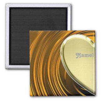 Lover1 half golden heart square magnet