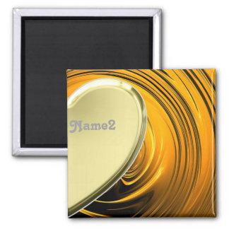 Lover2 half golden heart square magnet