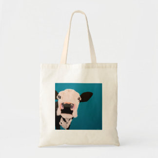 """' Lover Not a Fighter """" Cow tote bag. Budget Tote Bag"""