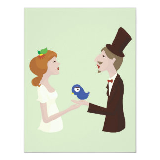 Lover with blue bird, wedding card 11 cm x 14 cm invitation card