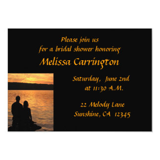 Lovers at Sunset Bridal Shower 13 Cm X 18 Cm Invitation Card
