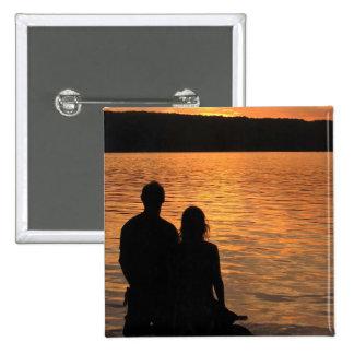 Lovers at Sunset Lake Pinback Button