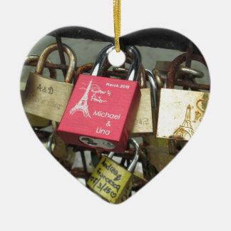 Lovers Bridge - Paris Love Locks, France - Zoom in Ceramic Ornament