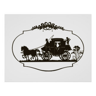 Lovers Carriage Silhouette 1880 Posters