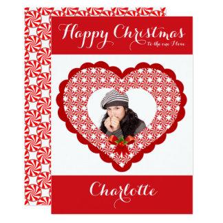 Lovers Christmas Card Love Heart Add Custom Photo 13 Cm X 18 Cm Invitation Card
