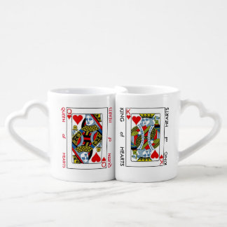 Lovers' Coffee Mug Set KING and QUEEN of HEARTS Lovers Mug Set