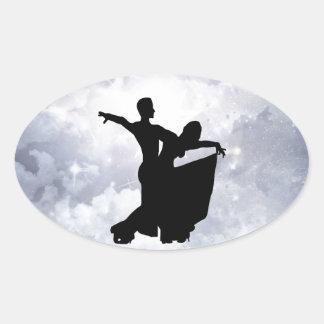Lovers dancing in romance oval sticker