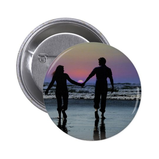 Lovers Holding Hands Walking into the Beach Sunset 6 Cm Round Badge