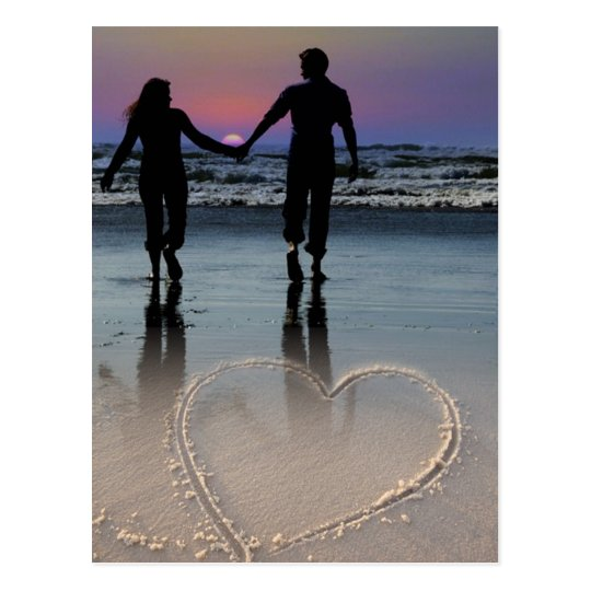 Lovers Holding Hands Walking into the Beach Sunset Postcard