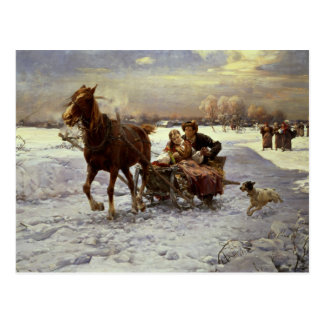 Lovers in a sleigh postcard