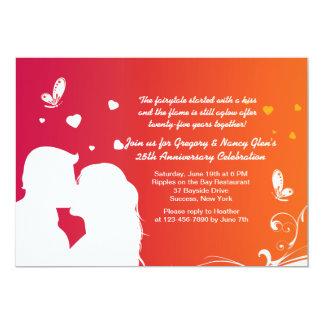 Lovers Kiss Anniversary Invitation
