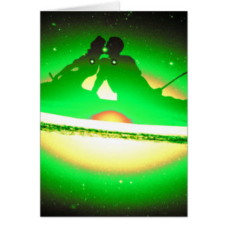 Lovers Kissing and Fishing on a greenish Galaxy. Greeting Card
