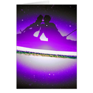 Lovers Kissing and Fishing on a purplish Galaxy. Cards