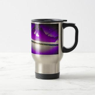 Lovers Kissing and Fishing on a purplish Galaxy. Travel Mug