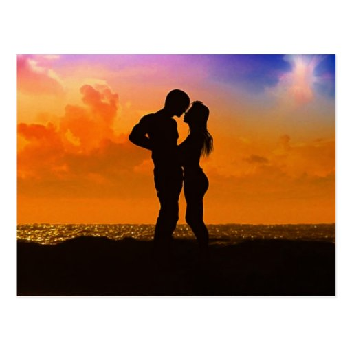 Lovers Kissing at Sunset on the Beach Post Card