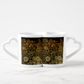 Lovers Mug Floral Doodle Gold G523