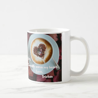 Lover's Mug With Person And Heart In Coffee
