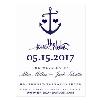 Lovers Navy Blue Nautical Anchor Save the Dates Postcard