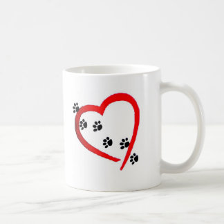 Lovers of animals footprints heart coffee mug